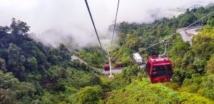 Cable cars heading up to Genting Highlands