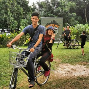 Visitors can rent a bike to explore the grounds at Gopeng Glamping Park