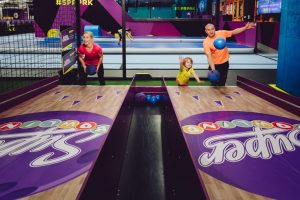 A family try their hand at Super Bowling