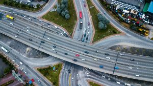Aerial shot, view from the drone on the road junction of Kuala-Lumpur,Malaysia